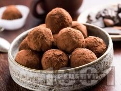 Домашни бонбони трюфели с черен шоколад, сметана и какао - снимка на рецептата